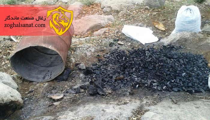 تولید زغال در بشکه